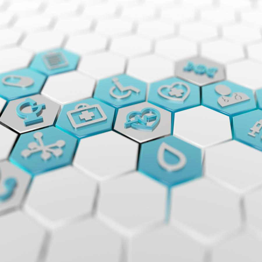 Hexagonal Medical Icons Interlocking
